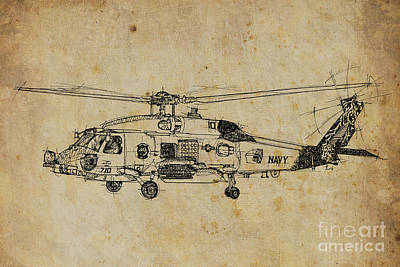 Transportation Drawings - Helicopter 01 by Drawspots Illustrations