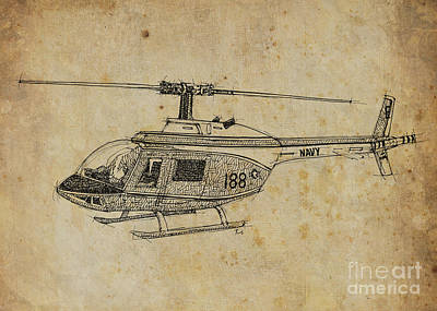 Transportation Drawings - Helicopter 02 by Drawspots Illustrations