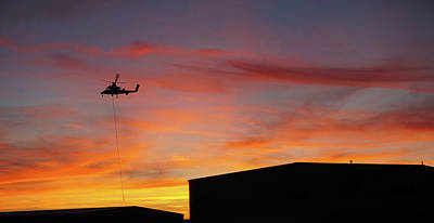 Photograph - Helicopter And The Sunset by Angi Parks