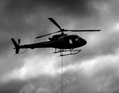 Helicopter In Sling Operations Art Print by Wyatt Rivard