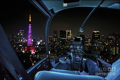 Photograph - Helicopter In Tokyo Cityscape by Benny Marty
