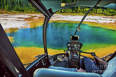 Photograph - Helicopter In Yellowstone by Benny Marty