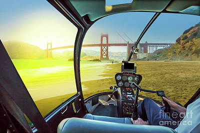Photograph - Helicopter On Baker Beach by Benny Marty