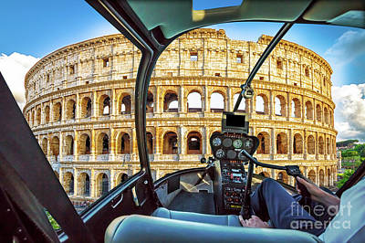 Photograph - Helicopter On Colosseo by Benny Marty