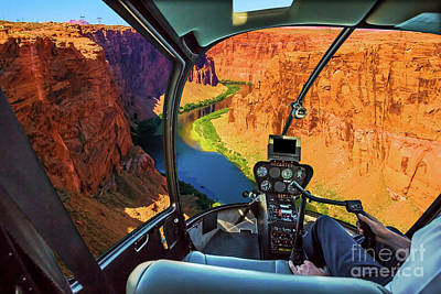 Photograph - Helicopter On Grand Canyon by Benny Marty