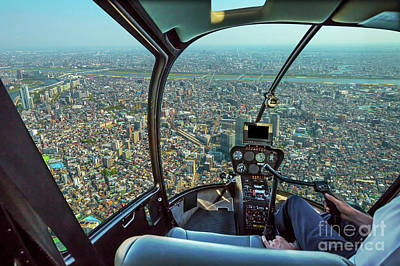 Photograph - Helicopter On Japan Skyline by Benny Marty