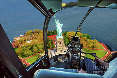 Photograph - Helicopter On Liberty Island by Benny Marty