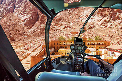 Photograph - Helicopter On Monastery Of St Catherine by Benny Marty