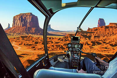 Photograph - Helicopter On Monument Valley by Benny Marty