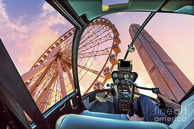 Photograph - Helicopter On Observation Wheel by Benny Marty