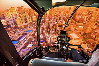 Photograph - Helicopter On Osaka by Benny Marty