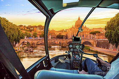 Photograph - Helicopter On Rome by Benny Marty