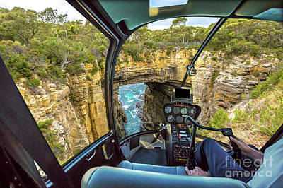 Photograph - Helicopter On Tasman Arch by Benny Marty