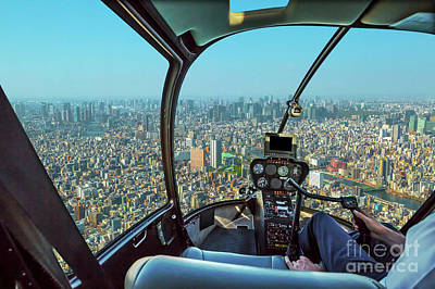 Photograph - Helicopter On Tokyo by Benny Marty