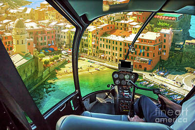 Photograph - Helicopter On Vernazza by Benny Marty