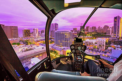 Photograph - Helicopter On Waikiki by Benny Marty