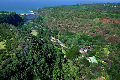 Helicopter Overview Of Waimea Valley On The North Shore Of Oahu, Art Print by Sean Davey