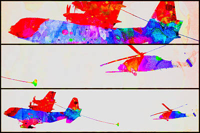Digital Art - Helicopter Refuel Watercolor Tryptic by Bartz Johnson