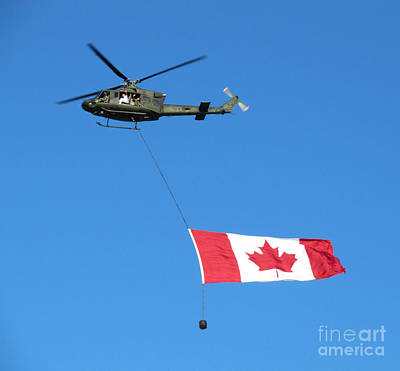 Photograph - Helicopter With Canadian Flag by Donna Munro