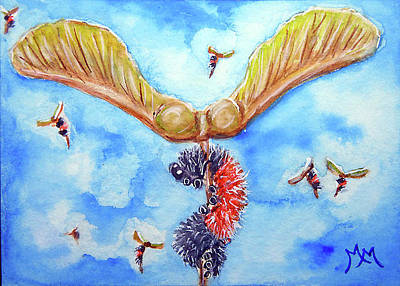 Painting - Helicoptering Woolly Worm by Monique Morin Matson