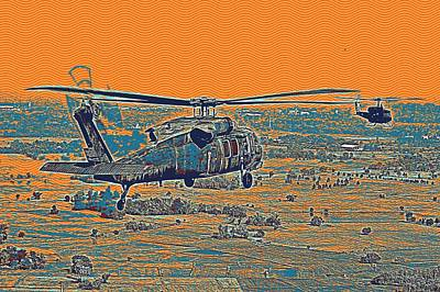 Park Scene Painting - Helicopters On A Mission by Celestial Images