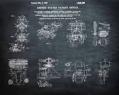 Helicoptor Patent 1932 Chalk Art Print by Bill Cannon