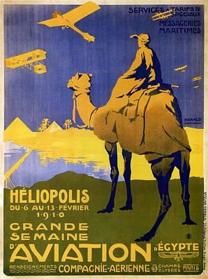 Camel Mixed Media - Heliopolis, Egypt - Grande Semaine D'aviation - Retro Travel Poster - Vintage Poster by Studio Grafiikka