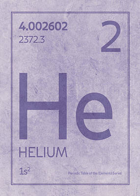 Periodic Table Wall Art - Mixed Media - Helium Element Symbol Periodic Table Series 002 by Design Turnpike