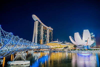 Singapore Photograph - Helix Bridge by Delphimages Photo Creations