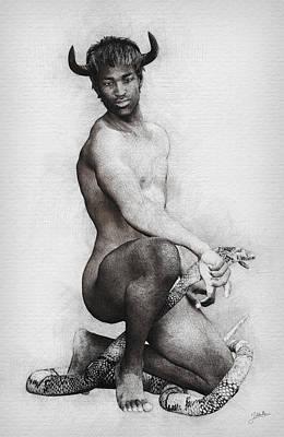 Human Beings Digital Art - Hell Boy Mockingly by Joaquin Abella