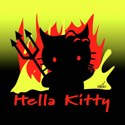 Digital Art - Hella Kitty by Mike Martinet