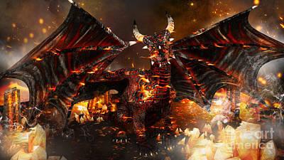 Digital Art - Hellborn Dragon by Elle Arden Walby