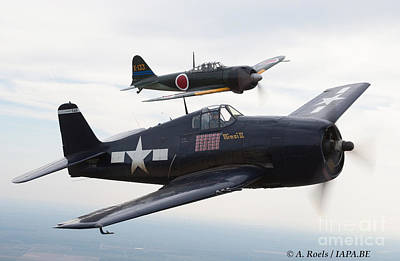 Photograph - Hellcat And Zero  Wwii Formation Of Commemorative Air Force by Antoine Roels