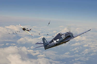Hellcat F6f - Duel In The Sun Art Print by Pat Speirs