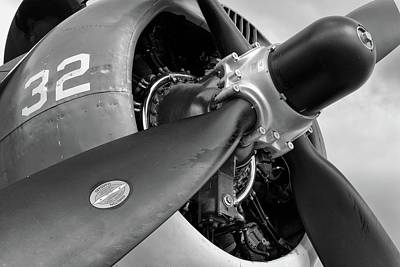Photograph - Helldiver Horsepower - Black And White - 2018 Christopher Buff, Www.aviationbuff.com by Chris Buff