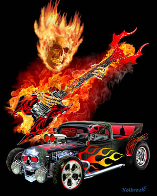 Digital Art - Hellfire Hot Rod by Glenn Holbrook