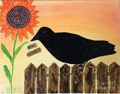 Painting - Hello Autumn Crow by Nancy Pace