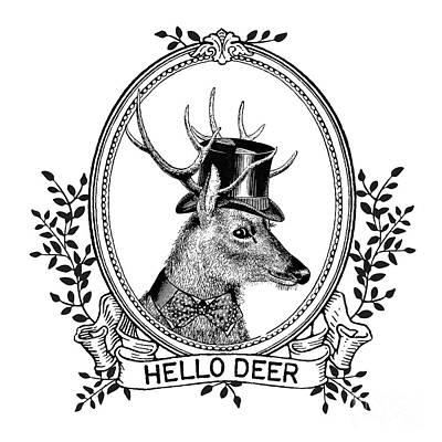 Black Top Digital Art - Hello Deer by Wendy Paula Patterson