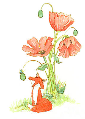 Poppies Drawing - Hello Friend by Priscilla  Jo