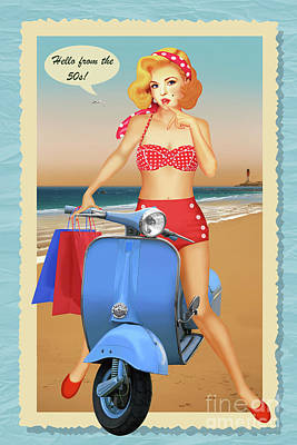 50s Mixed Media - Hello From The 50s by Monika Juengling