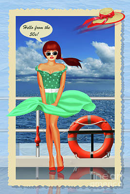 Pinups Mixed Media - Hello From The 50s Pin-up Girl On A Boat Trip by Monika Juengling