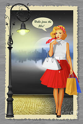 50s Mixed Media - Hello From The 50s Shopping Girl by Monika Juengling