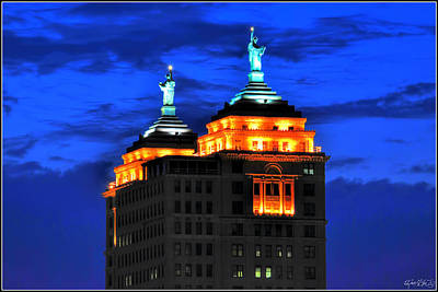 Hello Goodbye In Stormy Skies Atop The Liberty Building Art Print by Michael Frank Jr