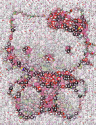 Hello Kitty Button Mosaic Art Print