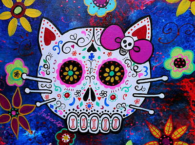 Kitty Day Of The Dead Art Print by Pristine Cartera Turkus