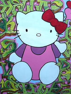 Hello Kitty Painting - Hello Kitty Graffiti by M Roboto