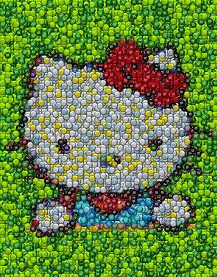 Hello Kitty Mm Candy Mosaic Print by Paul Van Scott