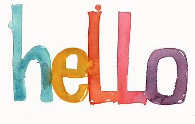 Watercolor Photograph - Hello Lettering by Gillham Studios