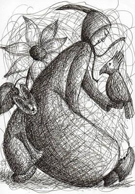Drawing - Hello Little Bird by June Walker