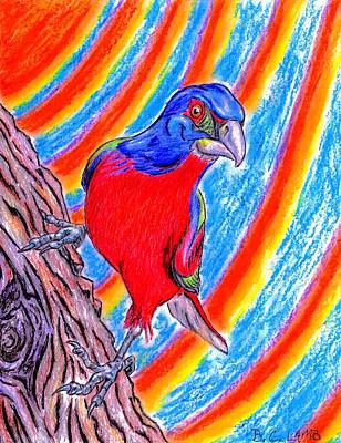 Bunting Drawing - Hello Mr. Blue Sky - Painted Bunting by Bryant Lamb